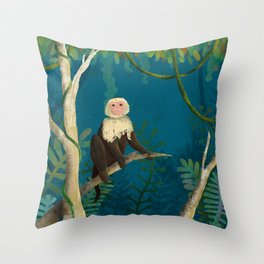 Monkey In The Jungle Throw Pillow
