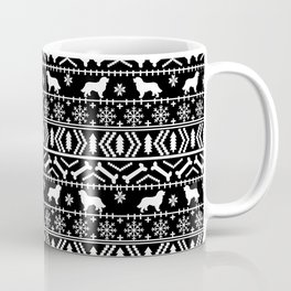 Bernese Mountain Dog fair isle christmas black and white pattern holiday dog breed gifts Coffee Mug