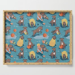 Memories of a Sweet Pit Bull Doggie Friend named Venice // blue linen texture background Serving Tray