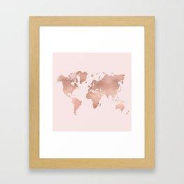 Rose Gold World Map Framed Art Print