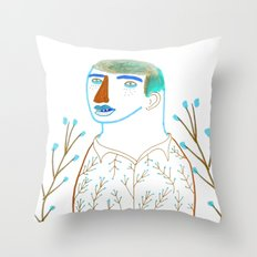 Man and plants. Throw Pillow