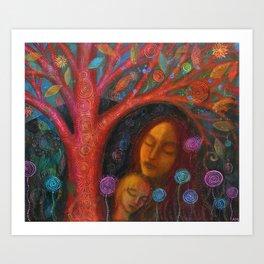 Mother Child Tree Art Print