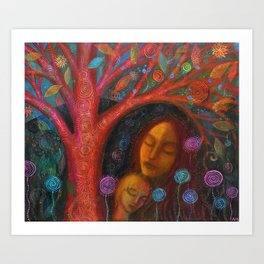 Mother Child Tree Art Print