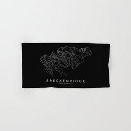 BRECKENRIDGE B&W // Colorado Trail Map White on Black Runs Minimalist Ski & Snowboard Illustration Hand & Bath Towel