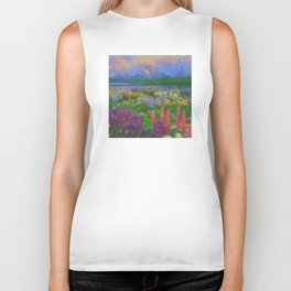 Colorful Impressionist Flower Field Biker Tank