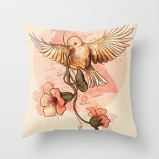 Bird&flowers Throw Pillow