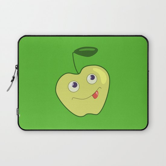 cute smliing green cartoon apple laptop sleeve by boriana