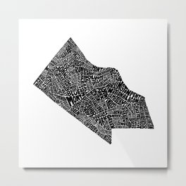 Typographic Map of Arlington County (Black) Metal Print