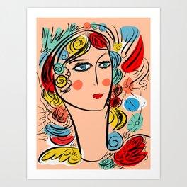 Nissa Girl Carnaval Portrait French Art Illustration Art Print