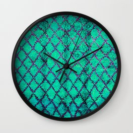 -A4- Stylish Green Traditional Moroccan Carpet Texture. Wall Clock