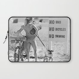 Girl ... It's Just Going to be One of Those Days black and white beach photograph Laptop Sleeve