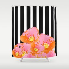 Poppy Stripes - Pink Shower Curtain