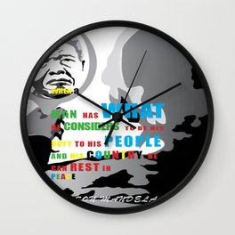Tribute to Nelson Mandela Wall Clock
