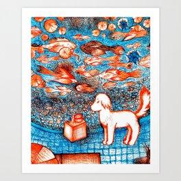 Suki by the Koi Pond Art Print