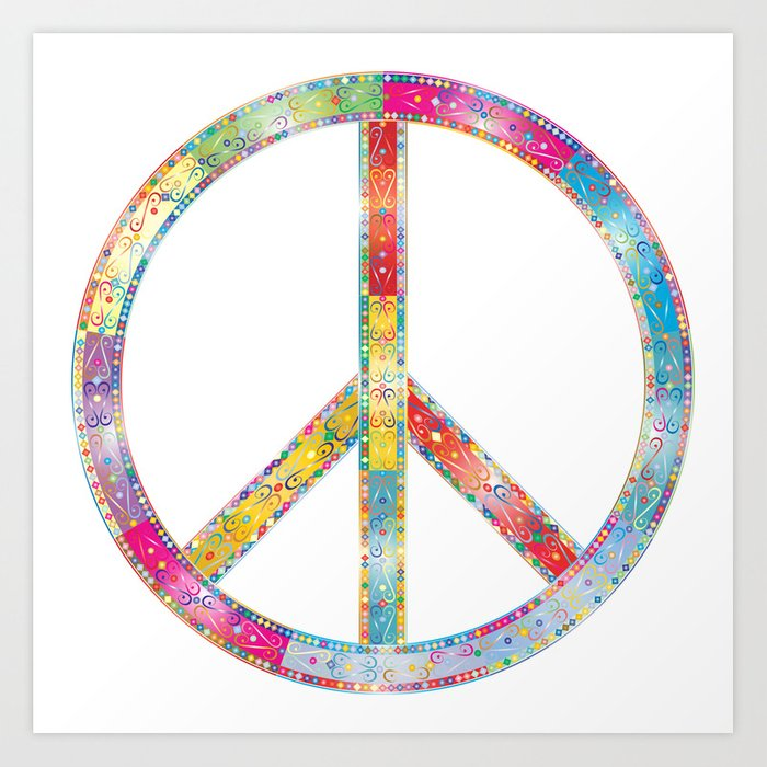 Flourish Decorative Peace Sign Art Print By Etnousta Society6