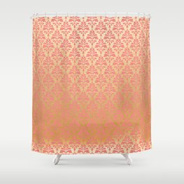 Modern chic coral faux gold floral elegant damask Shower Curtain