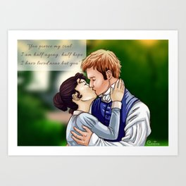 Anne Elliot and captain Wentworth from Persuasion book by Jane Austen Art Print