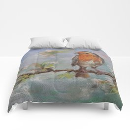 Red Robin Small bird on a blooming twig Wildlife spring scene Pastel drawing Comforters