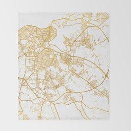 HAVANA CUBA CITY STREET MAP ART Throw Blanket