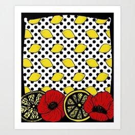 Lemons & Poppies Art Print