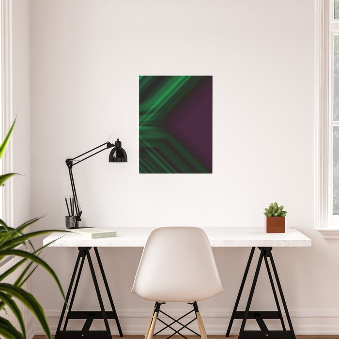 Ultra Violet and Emerald Green Abstract Design Poster