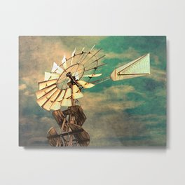Rustic Windmill against Cloudy Sky Modern Country Art A520 Metal Print