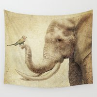 marc Wall Tapestries featuring A New Friend (sepia drawing) by Eric Fan
