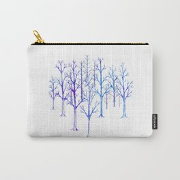 Winter Wonderland Trees in Blue Carry-All Pouch