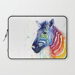 Zebra Watercolor Rainbow Animal Painting Ode to Fruit Stripes Laptop Sleeve