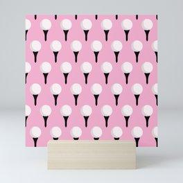 Golf Ball & Tee Pattern (Pink) Mini Art Print