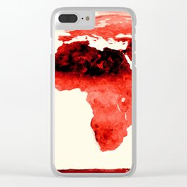 World Map brick red Clear iPhone Case