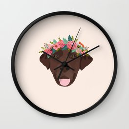 Chocolate Lab floral crown dog breed pet art labrador retrievers dog lovers giftsChocolate Lab flora Wall Clock