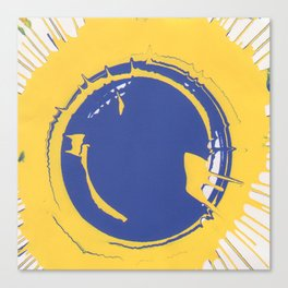 Blue and Yellow Splatter Canvas Print