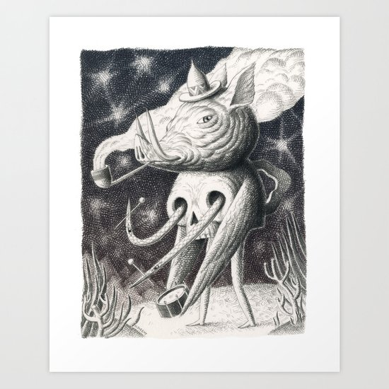 Pig Pipe Skull Art Print