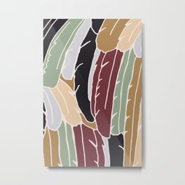 Modern Feathers Earth Tones Metal Print