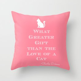 Dickens Cat Quote Throw Pillow