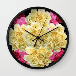 REDDISH MAGENTA PINK ROSES & IVORY ROSES CLUSTERS Wall Clock