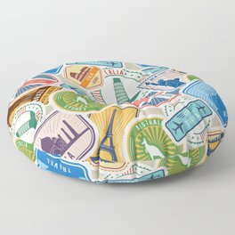 Travel Lover Postcards from Everywhere Floor Pillow