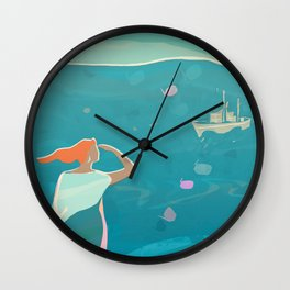 Happy Waiting in a Cold and Windy Day Wall Clock