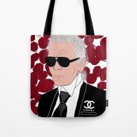 karl lagerfeld Tote Bags featuring Karl Lagerfeld by Stephanie Jett