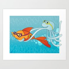 Goldfish & Octopus Art Print