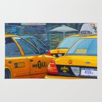 taxi driver Area & Throw Rugs featuring Taxi by Massimiliano Bertozzi