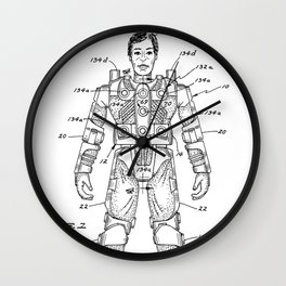 vintage action figure patent schematic Wall Clock