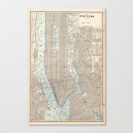 Vintage Map of New York City (1893) Canvas Print