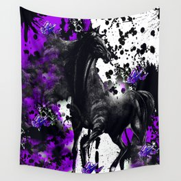 HORSE BLACK AND PURPLE THUNDER INK SPLASH Wall Tapestry