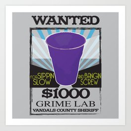 Wanted Purple Cup Art Print