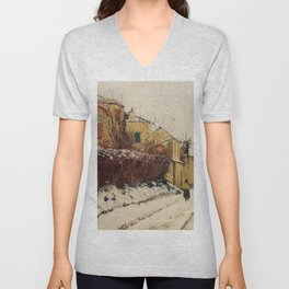 The Street Of The Citadelle Pontoise 1873 By Camille Pissarro | Reproduction | Impressionism Painter Unisex V-Neck
