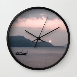 Abstract Sunset | Fishing Boat Island Pink Sky Rolling Hills Lake Water Landscape Photograph Wall Clock