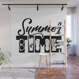 Summer TIME at the Pool Black Wall Mural