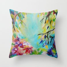 BLISS - Stunning Bold Colorful Idyllic Dream Floral Nature Landscape Secret Garden Acrylic Painting Throw Pillow